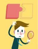 Zakenman die een verborgen puzzel vinden stock illustratie