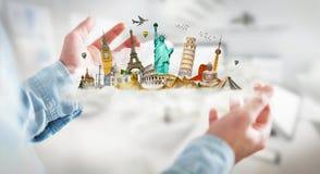 Zakenman die een wolkenhoogtepunt van beroemde monumenten in zijn hand houden Stock Foto