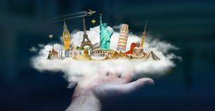 Zakenman die een wolkenhoogtepunt van beroemde monumenten in zijn hand houden Stock Afbeelding