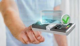 Zakenman die eindbetaling 3D teruggeven gebruiken het zonder contact Royalty-vrije Stock Afbeelding
