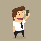 Zakenman die en selfie schot stellen maken Royalty-vrije Stock Fotografie