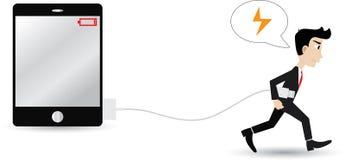 Zakenman die energie zoeken die voor tablet laden Stock Afbeeldingen