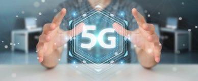 Zakenman die 5G netwerkinterface het 3D teruggeven gebruiken Royalty-vrije Stock Foto