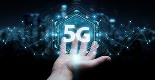 Zakenman die 5G netwerkinterface het 3D teruggeven gebruiken Stock Foto's