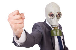 Zakenman die gasmasker dragen Stock Afbeelding