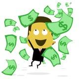 Zakenman die geld vangen wanneer het geld regent Stock Afbeeldingen