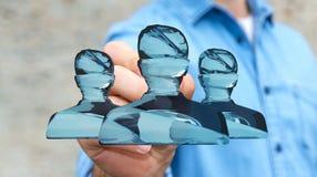 Zakenman die glanzende glasavatar groep met pen het 3D teruggeven gebruiken Stock Foto's