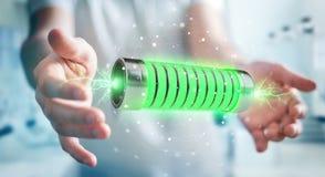 Zakenman die groene batterij met bliksem het 3D teruggeven met behulp van Royalty-vrije Stock Afbeeldingen