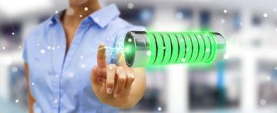 Zakenman die groene batterij met bliksem het 3D teruggeven met behulp van Royalty-vrije Stock Foto