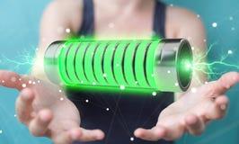 Zakenman die groene batterij met bliksem het 3D teruggeven met behulp van Stock Foto's