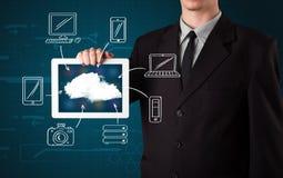 Zakenman die hand getrokken wolk gegevensverwerking tonen Royalty-vrije Stock Fotografie