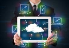 Zakenman die hand getrokken wolk gegevensverwerking tonen stock foto