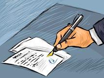 Zakenman die handeling ondertekenen vector illustratie