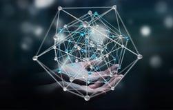 Zakenman die het abstracte verbindingsinterface 3D teruggeven houden Stock Foto's