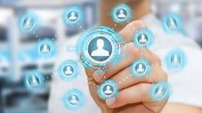 Zakenman die het blauwe sociale netwerk 3D teruggeven gebruiken Stock Afbeeldingen