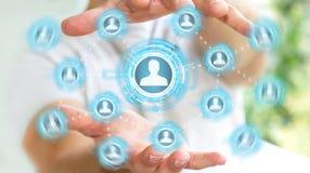 Zakenman die het blauwe sociale netwerk 3D teruggeven gebruiken Stock Foto
