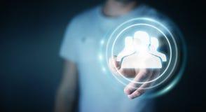 Zakenman die het blauwe sociale netwerk 3D teruggeven gebruiken Royalty-vrije Stock Foto's