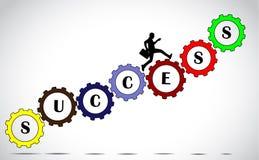 Zakenman die het Concept van succestoestellen beklimmen Stock Fotografie