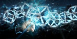 Zakenman die het digitale blauwe 3D teruggeven van Blockchain gebruiken Royalty-vrije Illustratie