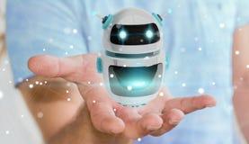 Zakenman die het digitale de toepassing van de chatbotrobot 3D teruggeven gebruiken Royalty-vrije Stock Afbeelding