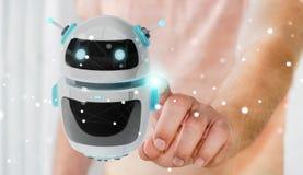 Zakenman die het digitale de toepassing van de chatbotrobot 3D teruggeven gebruiken Stock Foto
