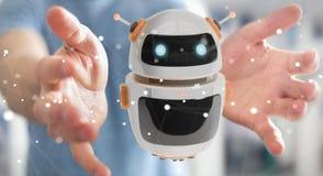 Zakenman die het digitale de toepassing van de chatbotrobot 3D teruggeven gebruiken Royalty-vrije Stock Foto