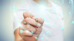 Zakenman die het digitale gebied van hologrammendatas met een pen 3D r gebruiken Stock Fotografie