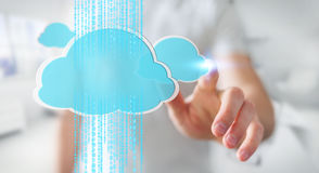 Zakenman die het digitale wolk 3D teruggeven gebruiken Stock Afbeeldingen