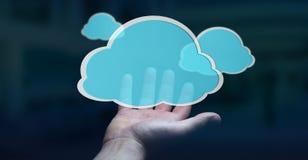 Zakenman die het digitale wolk 3D teruggeven gebruiken Stock Foto's