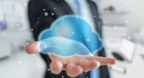 Zakenman die het digitale wolk 3D teruggeven gebruiken Royalty-vrije Stock Afbeeldingen