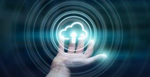 Zakenman die het digitale wolk 3D teruggeven gebruiken Royalty-vrije Stock Afbeelding