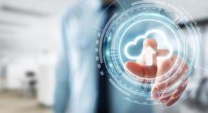 Zakenman die het digitale wolk 3D teruggeven gebruiken Stock Fotografie