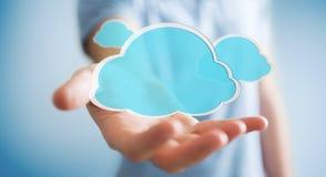 Zakenman die het digitale wolk 3D teruggeven gebruiken Royalty-vrije Stock Foto's