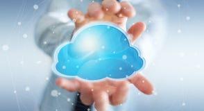 Zakenman die het digitale wolk 3D teruggeven gebruiken Stock Afbeelding