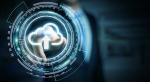 Zakenman die het digitale wolk 3D teruggeven gebruiken Royalty-vrije Stock Fotografie