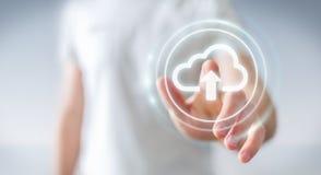 Zakenman die het digitale wolk 3D teruggeven gebruiken Royalty-vrije Stock Foto