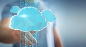 Zakenman die het digitale wolk 3D teruggeven gebruiken Stock Foto