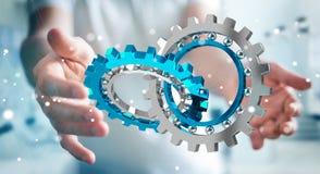 Zakenman die het drijven het moderne toestelmechanisme 3D teruggeven gebruiken Stock Afbeelding