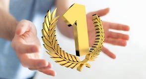 Zakenman die het eerste gouden prijs 3D teruggeven winnen Stock Afbeelding