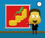 Zakenman die het financiële grafiek toenemen voorstellen Stock Afbeelding