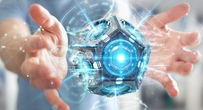Zakenman die het futuristische de camera van de hommelveiligheid 3D teruggeven gebruiken Royalty-vrije Stock Afbeeldingen