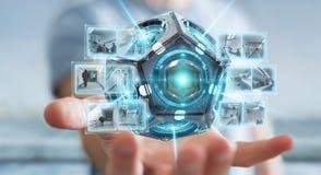 Zakenman die het futuristische de camera van de hommelveiligheid 3D teruggeven gebruiken Royalty-vrije Stock Foto