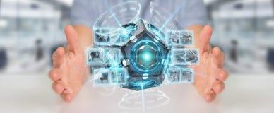 Zakenman die het futuristische de camera van de hommelveiligheid 3D teruggeven gebruiken Stock Fotografie