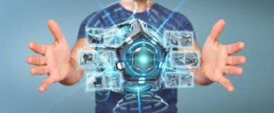 Zakenman die het futuristische de camera van de hommelveiligheid 3D teruggeven gebruiken Stock Afbeelding
