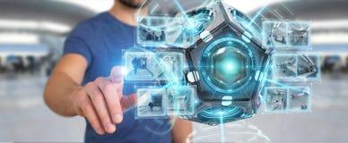 Zakenman die het futuristische de camera van de hommelveiligheid 3D teruggeven gebruiken Royalty-vrije Stock Fotografie