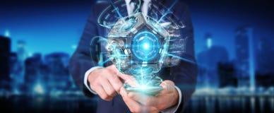 Zakenman die het futuristische de camera van de hommelveiligheid 3D teruggeven gebruiken Royalty-vrije Stock Foto's