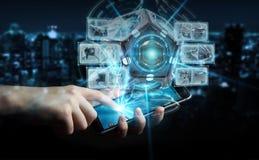 Zakenman die het futuristische de camera van de hommelveiligheid 3D teruggeven gebruiken Stock Foto's