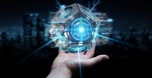 Zakenman die het futuristische de camera van de hommelveiligheid 3D teruggeven gebruiken Royalty-vrije Stock Afbeelding
