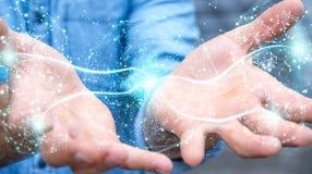 Zakenman die het gebied van de digitaal netwerkverbinding het 3D teruggeven gebruiken Stock Foto's