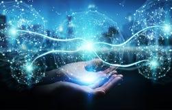Zakenman die het gebied van de digitaal netwerkverbinding het 3D teruggeven gebruiken Stock Foto